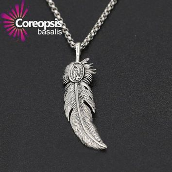 DCCK7G2 COREOPSIS Jewelry 925 sterling silver jewelry Retro Thai silver men and women handmade eagle feather Pendant 2017 new product