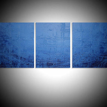 "LARGE WALL ART triptych 3 panel wall contemporary art ""Blue Bayou"" canvas original painting abstract canvas pop wall kunst 48 x 20"