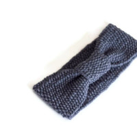 Knitted Headband Knotted Turban in Grey with a drop of Blue