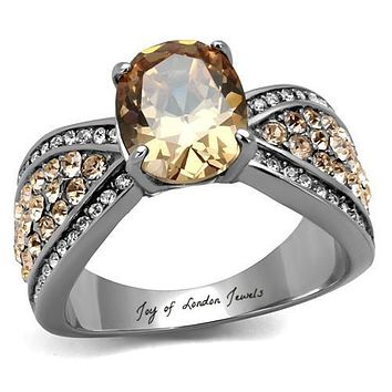 A Perfect 2.4CT Oval Cut Champagne Cognac Russian Lab Diamond Ring
