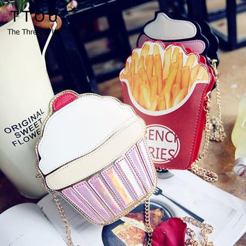 Fashion Cute Women Cupcake Ice Cream Fruit Shape Cartoon Fashion Bags Chain PU Leather Ladies Small Mini Shoulder Messenger Bags