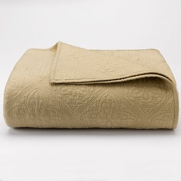 Chaps Home Casablanca Quilted Coverlet (Beige/Khaki)