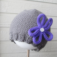 Girls Flower Beanie - hand knit, made to order, many sizes, color choice