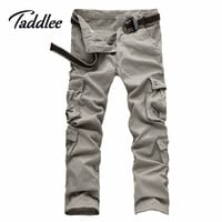 Taddlee Brand Europe size Casual Men Pants Slim Fit Straight Full Long Pants Mens Multi-pockets Cargo Work Pants Khaki Military