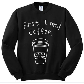 LMFIH3 [First i need coffee] personalized womens letter sweater