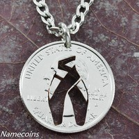 Dancer Shoe necklace, Girl Ballet slipper jewelry, hand cut coin