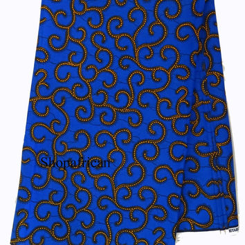 African Fabric by the yard, Ethnic fabric, kitenge fabric, Wax print fabric, African print fabric, Ankara fabric, African skirt fabric,Blue