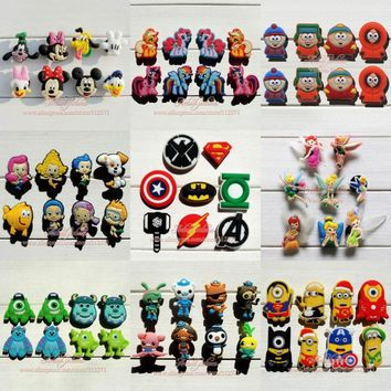 Mix Models 8pcs lot Mickey Super hero Avengers South Park Minions Monster shoe accessories shoe charms fit croc JIBTZ gift