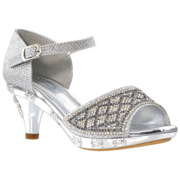 Girls Ankle Strap Dress Sandals Silver