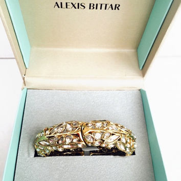Alexis Bittar Gold Leaf And Crystal Hinge Bangle Bracelet