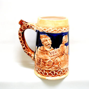 Wet your Whistle / Whistle for your Beer.  Collectible Beer Stein / Mug.  Made in Japan.