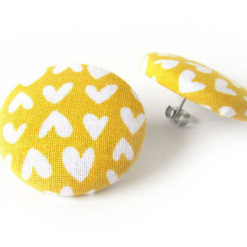Big mustard yellow stud earrings - large fabric button earrings - hearts bright funky - summer present for her
