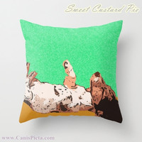 "Dachshund, Dog - ONE 16"" x 16"" Graphic Print Throw Pillow Cover - Doxie, Dach, Doxies, Weiner, Sausage, Whimsical, Puppy, Bright, Home"