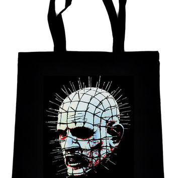 Pinhead Hellraiser on Black Tote Book Bag Clive Barker Horror Cenobite Handbag