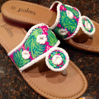 Hand painted sandals inspired by Jack Rogers and painted in a Lilly Pulitzer like design.