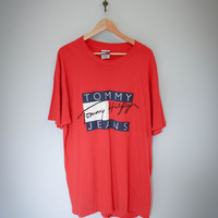 Tommy Hilfiger Vintage 90s Classic Tommy Hilfiger Aaliyah Logo Shirt -MADE IN USA.
