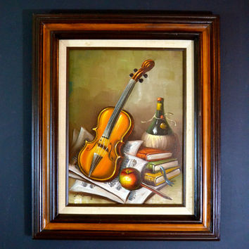 Vintage Hand Painted Still Life, Original Framed Artwork Signed M. Conway, Violin, Wine and Books, Library Decor, Professionally Framed