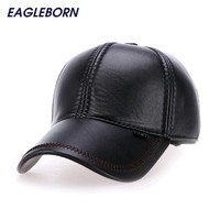 2016 Fashion Leather Baseball Cap Men Thicken Fall Winter Hats with Ears 6 Panel Keep Warm Leather Cap Male Hats Bone casquette