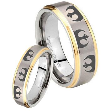 His Hers Step Edge Star Wars Rebel Alliance 14K Gold 2 Tone Tungsten Wedding Rings Set