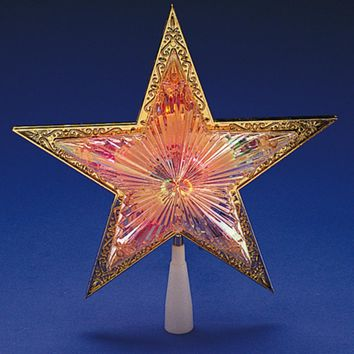 """10"""" Lighted Gold Star Christmas Tree Topper - Multi-Color Lights"""