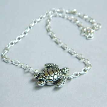 Silver Turtle Anklet. Sterling Silver Anklet. Turtle Bead. Silver Turtle Boho Jewelry Tribal Anklet. Summer Sea Vacation Sexy Anklet. Anklet