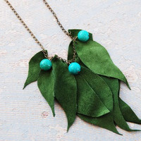 Leather Leaf Necklace - Forest Green Leaves with Turquoise - Modern Pocahontas Collection