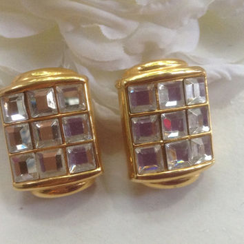 Valentino Rhinestone Clip Earrings Vintage Crystal Large Runway Haute Couture Goldtone Sparkling Goldtone Prom Bridal Wedding Festive Gift