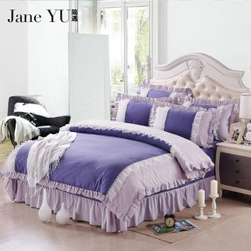 JaneYU 17 Colors Wedding bedding 4pcs princess bedding set luxury red/pink lace bed cover bed linen set