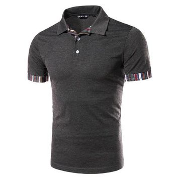 Mens Casual Stitching Polo Shirt Short Sleeve Slim Fit Spring Summer Tops