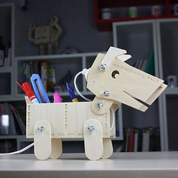 Dogs Diy Wooden Box Lights Lamp [6268313030]
