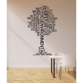 Vinyl Wall Decal Environmental Tree Ecology Nature Green Organic Words Stickers Mural (ig6183)