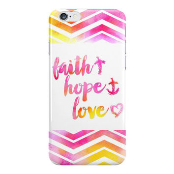 Faith Hope and Love Phone Case, Christian Phone Case, Inspirational Phone Case, Chevron Phone Case, iPhone, Samsung Galaxy
