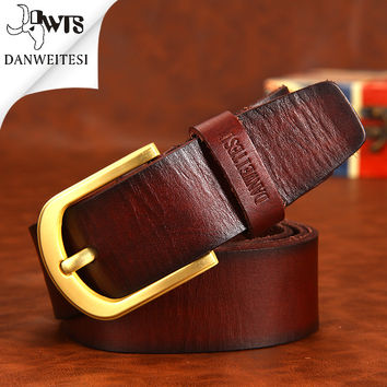 Top Leather Men Luxury Belts Cow Skin Cowboy 100% Nature Genuine Leather Belt Men Cincture Home