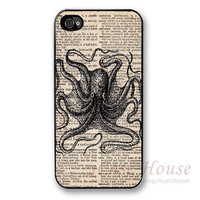 iPhone 4 case, Octopus iPhone 4s case, iPhone 4s/4g Cases with antique newspaper background, iPhone 4G Hard Case, iPhone cases