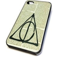 Apple iPhone 4 4G 4S Case Cover Skin BLACK HARD Plastic Deathly Hallows Sign Harry Potter Vintage Hipster Dictionary Art Print