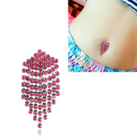 New Charming Dangle Crystal Navel Belly Ring Bling Barbell Button Ring Piercing Body Jewelry = 4804857924