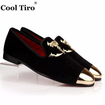 COOL TIRO new Gold Handmade Luxury Black velvet Metal toe wedding party Loafers Smoking Slippers Combined metalFlats men shoes