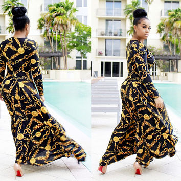 Sexy design golden chain print femme vestidos women summer dress riche robe african clothing maxi long dress
