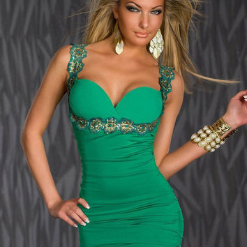 Green Sleeveless Floral Sequin Strap Sweetheart Neckline Bodycon Dress