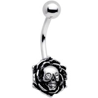 Clear Gem Halloween Skull Rose Belly Ring