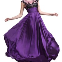 eDressit Cap Sleeves Round Neck Black Lace Evening Dress Prom Ball Gown(02132306)