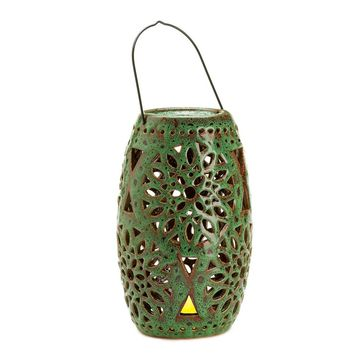 Ceramic Ceramic Green Candle Holder Lantern With LED Candle