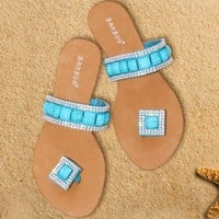Sandals Turquoise Jeweled Single Strap