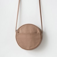 BAGGU Small Canvas Circle Purse Fawn
