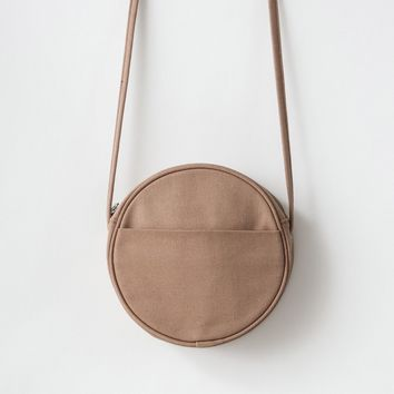 Small Canvas Circle Purse Fawn