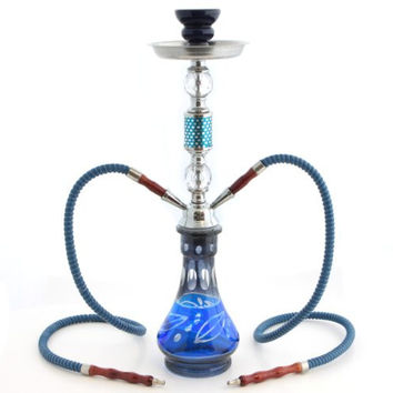 "GSTAR Convertible Series: 18"" 1 or 2 Hose Hookah Complete Set - Modern Art Glass Vase - (Soothing Blue)"
