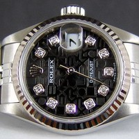 ROLEX Ladies 18kt WG & SS 26mm DateJust Black JUBILEE Diamond 79174 SANT BLANC