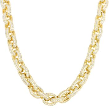 14k Gold Finish Custom Iced Out Hermes Rolo Link Silver Necklace