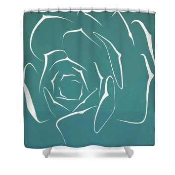 Succulent In Turquoise Shower Curtain for Sale by Ben Gertsberg