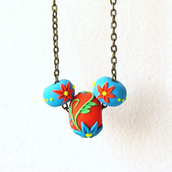 Floral Bead Necklace, Coral Flower Necklace, Turquoise Flower Necklace, Polymer Clay Bead Necklace, Summer Jewelry, Colorful Boho Necklace